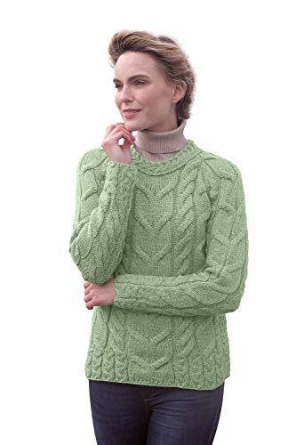 Carraig Donn Ladies Irish Multi Cabled Raglan Super Soft Merino Wool Sweater (XXLarge, Sea Foam Green)