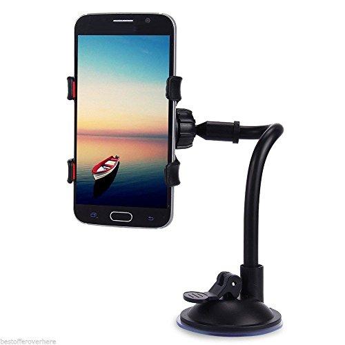 MAZIMARK--360 Degrees Rotation Car Windshield Holder Mount Bracket Stand Cell Phones Black