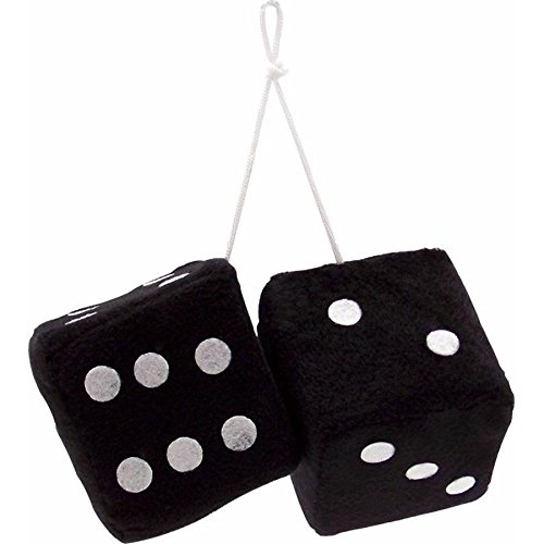 "Vintage Parts 14553 3"" Black Fuzzy Dice with White Dots - Pair"