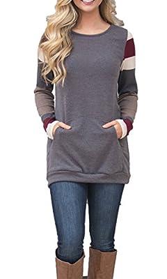BLENCOT Women's Color Block Long Sleeve Tunic Sweatshirt Tops With Kangaroo Pocket