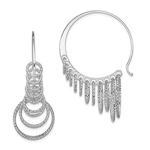 925 Sterling Silver Circles Drop Dangle Chandelier Hoop Earrings Ear Hoops Set Fine Jewelry Gifts For Women For Her