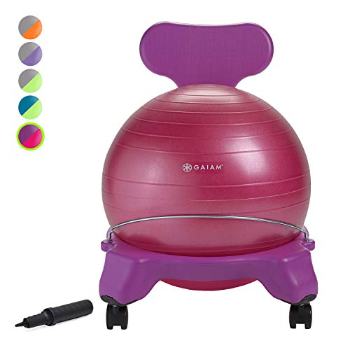 (Gaiam Kids Balance Ball Chair - Classic Children's Stability Ball Chair, Alternative School Classroom Flexible Desk Seating for Active Students with Satisfaction Guarantee, Purple/Pink)