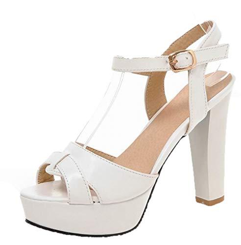 Sandales Boucle Unie Blanc Femme Couleur TSFLH007740 Cuir à PU AalarDom Talon Haut C8q1zwUw
