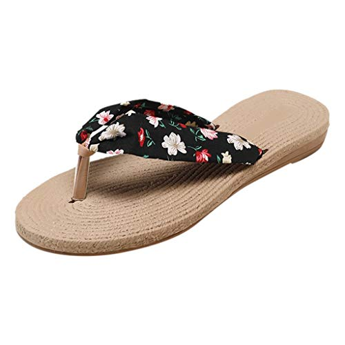 Vowes Summer Women's Polka Dot Print Sweet Floral Print Non-Slip Flip Flops Sandals Flat Beach Round Toe Slippers Shoes Black ()