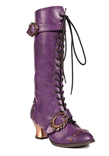 Hades Shoes - Vintage Knee High Vintage Boots Purple