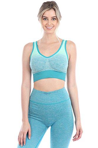 Women Yoga Fitness Bra And Pants Leggings Set Gym Workout Sports Wear , Teal-Aqua, Size : L/XL