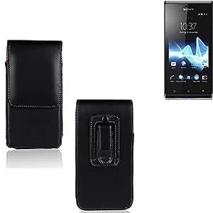Funda para Sony Xperia J, la bolsa de cinturón de cuero de imitación de alta calidad en color negro | elegancia funcional simple llano. Teléfono Móvil Funda Caso bolso cruzado bolsillo clip de transporte vertical de la cubierta del bolso