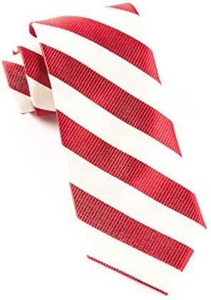 The Tie Bar 100% Woven Silk Red and Ivory Twill Striped Tie