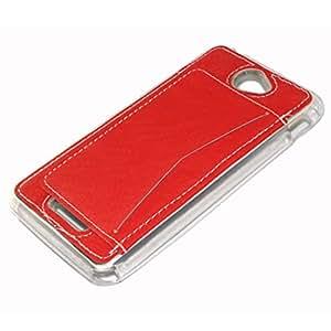 Sony Xperia E4 Funda,Lifeturt [Card Slot] PU Leather Stand bracket Funda Cover with 1 Card Holder Slots para Sony Xperia E4 (Not para Sony E4G) [Rojo]