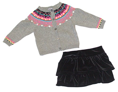 Hartstrings Infant Girl's 2 Piece Cardigan Sweater and Velvet Skort Set 12 Months