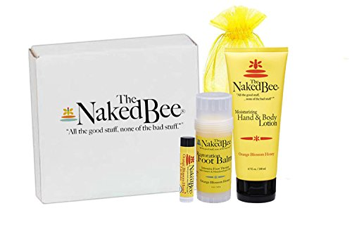 The Naked Bee Gift Set Hands, Lip Balm, Foot Balm, and Hand and Body Lotion, Hands, Lips, and Feet Spa Set, 4 Piece
