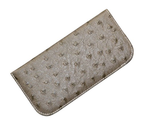 Ostrich Faux Slip (Soft Slip In Eyeglass Case For Women Men With Faux Ostrich Leather In Gray)