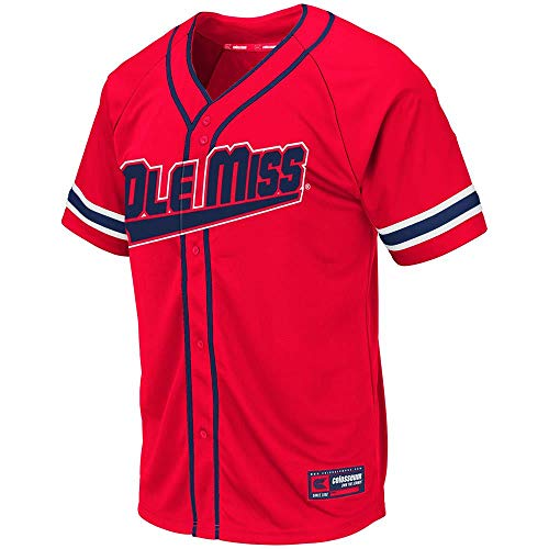 Colosseum Mens Ole Miss Rebels Wallis Baseball Jersey - - Alumni Miss Ole