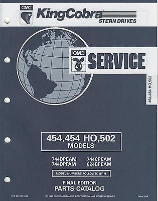 Omc Johnson Stern Drive - 1993 OMC King Cobra Stern Drive 454/454 Ho/502 Parts Manual