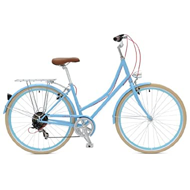 Critical Cycles Dutch Style City Bike Seven Speed Hybrid Urban Commuter Road Bicycle, Sky Blue, 44cm/Large