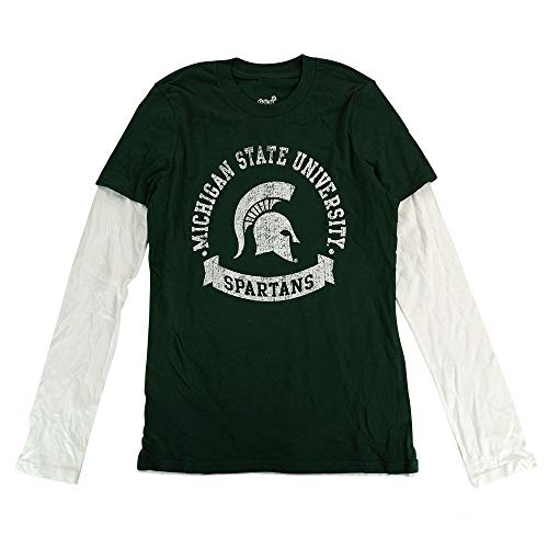 Outerstuff Michigan State Spartans NCAA Youth Green Blue Ribbon Long Sleeve Layered Shirt