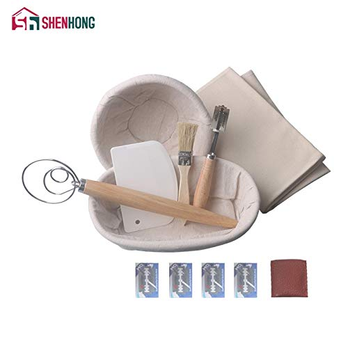 Best Quality - Pastry Cutters - 7PCS Banneton Fermentation Proofing Rattan Basket Dough Bread with Arc Curved Knife Scraper Brush Danish Whisk Linen - by GTIN - 1 PCs