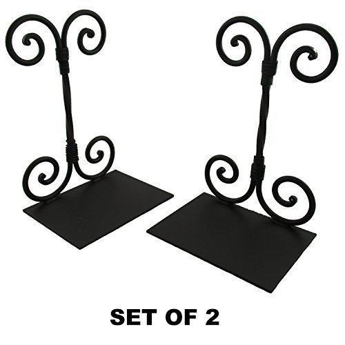 (Decorative Twirled Scroll Bookends (2) Vintage Antique Style Wrought Iron Metal)