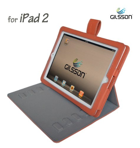 Apple iPad 2 PU Leather Orange Multi-Angle Adjustable Stand / Carrying Case for Apple iPad 2 3G Wifi 16GB/32GB/64GB - Orange