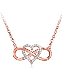Infinity Heart Necklace, 925 Sterling Silver Necklace Rose Golden Pendant Gift For Mom Friend Lover