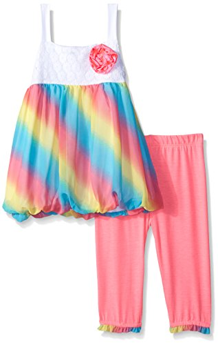 Kensie Little Girls' Toddler Rainbow Colored Printed Chiffon Top and Capri Legging, Multi, 3T - Kensie Girl Printed