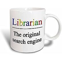 """3dRose mug_202958_2 """"Librarian The Original Search Engine"""" Ceramic Mug, 15 oz"""