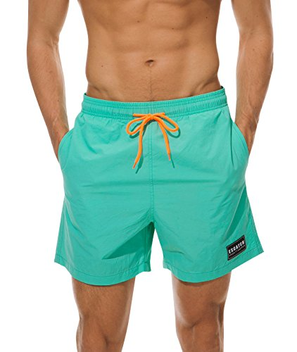 ESCATCH Men's Big Boys Swim Trunks Summer Boardshorts for Surfing Running Swimming Watershort with Pocket Nylon Green ()