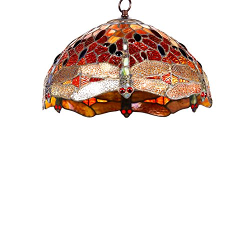 New Legend Tiffany Style Stained Glass Dragonfly Hanging Lamp Ceiling Fixture TL16003, 14-inch Wide