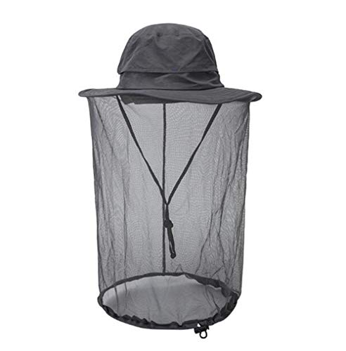Muscle Masters Mosquito Head Net Hat Anti Sun Insect Bug Bee Gnats with Removable Mesh for Men Women Outdoor Hiking Fishing Gardening Beekeeper (Dark Grey)