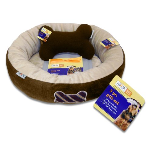 ASPCA Round 3-Piece Pet Bed Gift Set, Brown