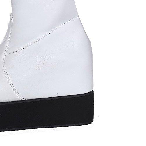 AllhqFashion Mujeres Puntera Redonda Sólido Caña Alta Cuña Botas con Metal Blanco