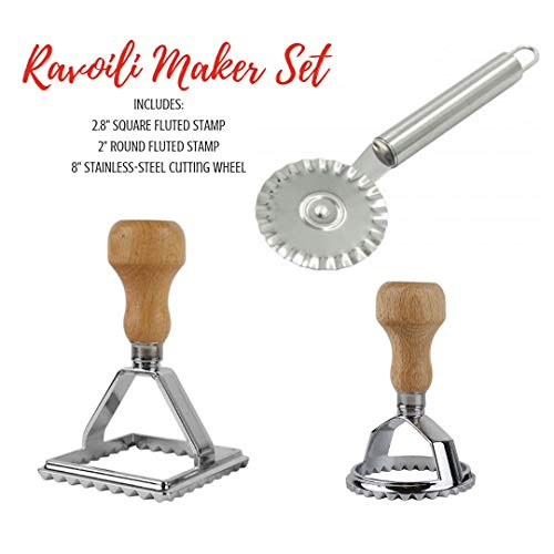 Cook's Fancy 3-Piece Ravioli Maker Stamp and Pasta Wheel Set, Includes Square and Round Dough Cutters plus Stainless-Steel Cutting Wheel for Fresh Pasta
