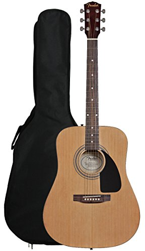 Guitar String Nylon Fender (Fender FA-100 Dreadnought Acoustic Guitar with Gig Bag - Natural)