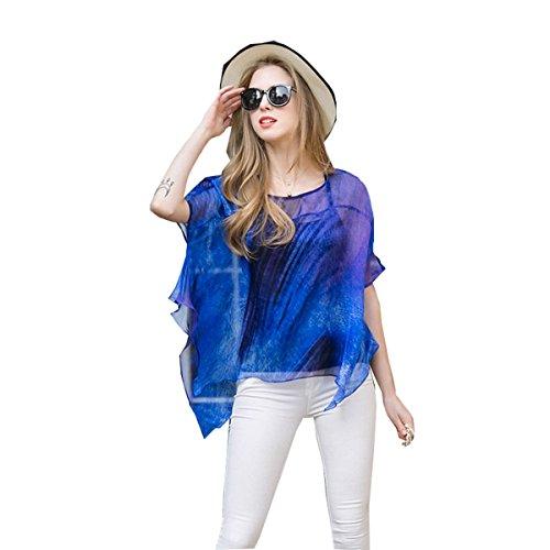 WHTCE Europa Verano Elegante Impresión Camiseta Blue