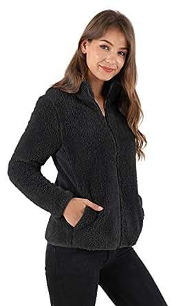 Les umes Womens Sherpa Jacket Fleece Fuzzy Full Zip Stand Collar Plus Size Sweatshirt Outwear Black S