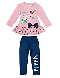 Girls Long Sleeve Top and Pants with Cute Cartoon Embroidered Bowknot Cotton 2 Piece Kids Outfits, 1-6Y