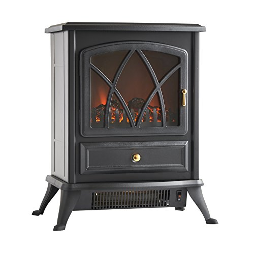 VonHaus 1500W Portable Electric Stove Heater Fireplace with Log Burning Flame Effect, Black