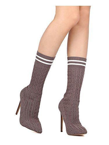 Women Knitted Mid Calf Pointy Toe Stiletto Sock Boot GD27 - Grey (Size: 7.0)