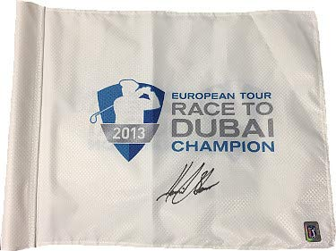 Henrik Stenson Autographed European Tour Race to Dubai Champion White PGA Tour Flag PGA Tour Hologram