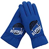 FULIER Boy Girl Winter Cold Weather Casual Cute Warm Plush Lining Gloves For Kids (Blue)