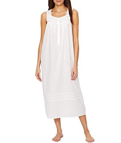 Eileen West Women's Clip Dot Ballet Nightgown White Sheet Stripe/Clip Dot X-Large (Pintucked Nightgown)
