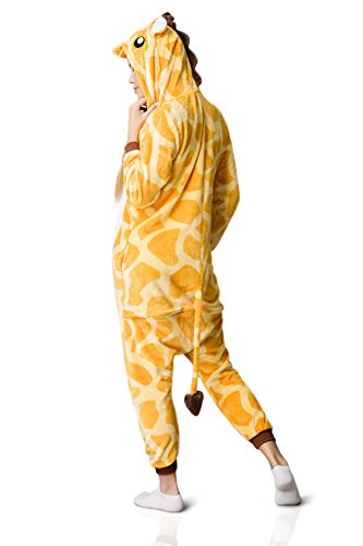 Nothing But Love Adult Giraffe Onesie Pajamas Kigurumi Animal Cosplay Costume One Piece Fleece Pjs (M, Yellow, White) by Nothing But Love (Image #4)