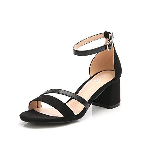 GAOLIM Zapatos De Tacón Alto Las Mujeres Sandalias De Verano con Gruesos Ranurados para El Alto-Heel Shoes Sandalias Hueco Y Cómoda Terraza Y Una Baja De Corte De Calzado De Tacón Alto (5-8 Cm) Negro