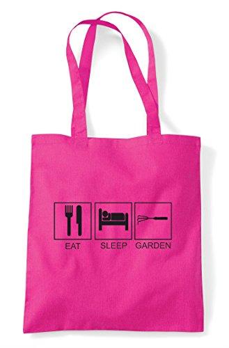 Activity Garden Shopper Fuschia Eat Bag Tote Hobby Funny Tiles Sleep 5vxzqwX8