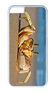 MOKSHOP Adorable Crab on Beach Hard Case Protective Shell Cell Phone Cover For Apple Iphone 6 Plus (5.5 Inch) - PC White