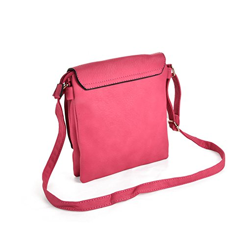 YOUNG Boxy Fushia Quality High Lock Women Strap Detail Leather Fashion Body With Cross Bag PU SALLY HqdUd