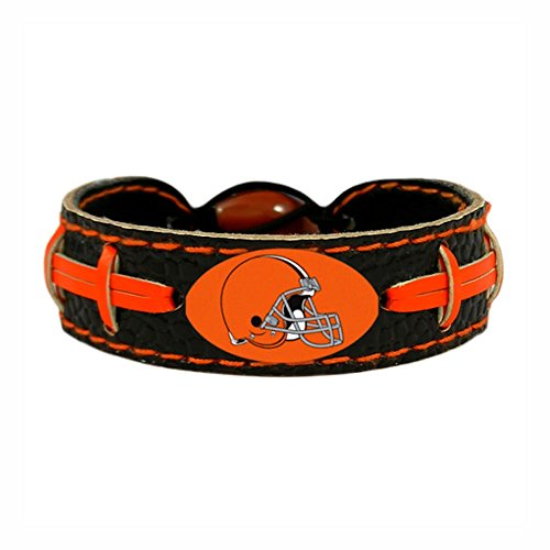 NFL Cleveland Browns Team Color Gamewear Leather Football Bracelet