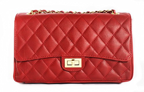 Inspired Taupe Red Gold Trims with Handbag Italian Designer Quilted Leather t4wz7B