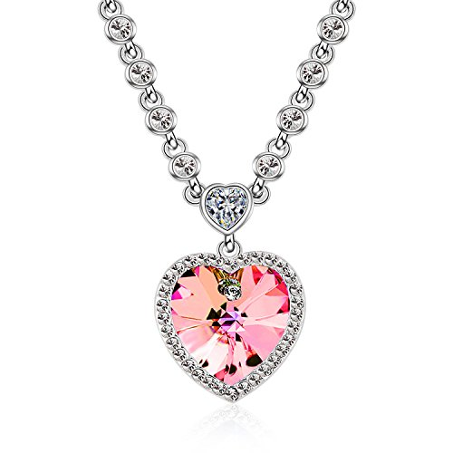 Rose Swarovski Crystal Silver Plated - Ocean Heart Necklaces for Girlfriend Love You with Rose Red Swarovski Element Crystals Silver Plated Collar Necklaces