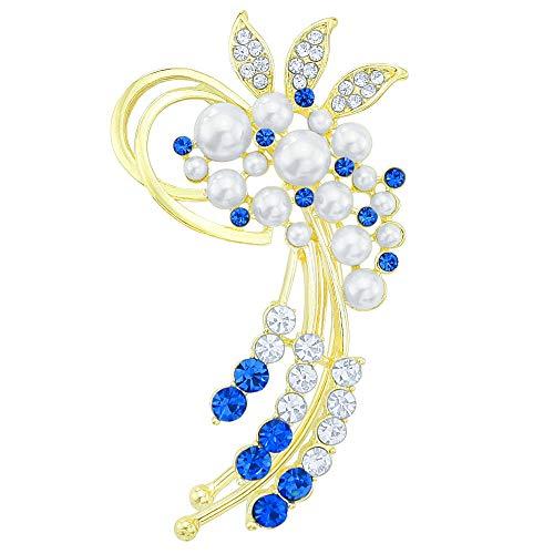 (Trendy Gold-Tone Crystal Simulated Pearl Flower Cluster Ear Wrap Ear Cuff Women Earrings Left Side)